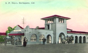 A vintage postcard shows Burlingame's famed train station.