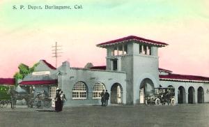 A vintage postcard shows Burlingame's famed train station.