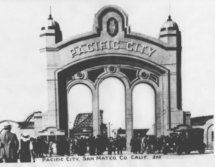 The entrance to Pacific City Amusement Park at Coyote Point.